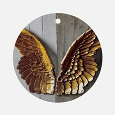 Gold Angel Wings W Round Ornament