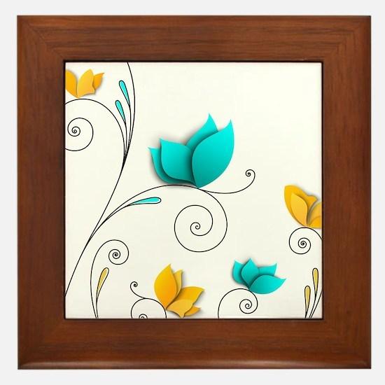 Elegant Flowers Framed Tile