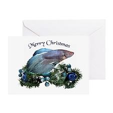 Christmas Blue Betta Greeting Card
