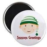 Christmas elves Round Magnets