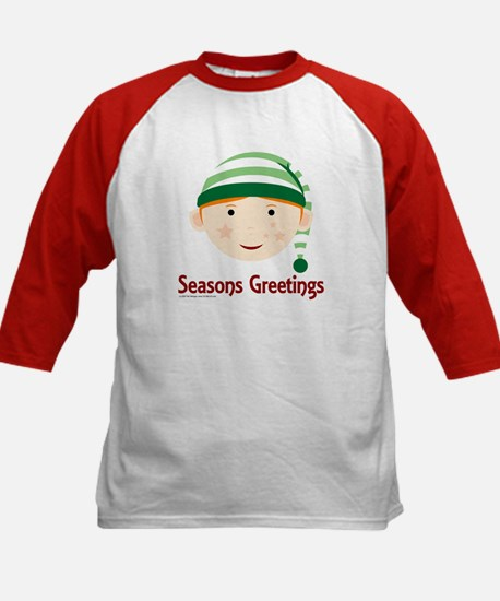 Seasons Greetings Elf Kids Baseball Jersey