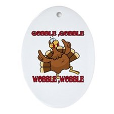 GobbleWBDance Oval Ornament