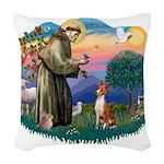 St Francis #2/ Basenji Woven Throw Pillow