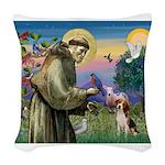 St Francis/Beagle Woven Throw Pillow