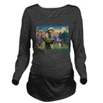 St Francis/Beagle Long Sleeve Maternity T-Shirt