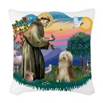 St.Francis #2/ Bearded Colli Woven Throw Pillow