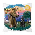 St.Francis #2/ Belgian Shep Woven Throw Pillow