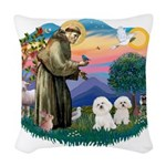 St.Francis #2/ Bichon (2) Woven Throw Pillow