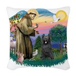 St.Francis #2/ Briard (blk) Woven Throw Pillow