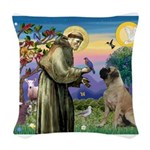 St. Francis / Bull Mastiff Woven Throw Pillow