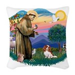 St.Francis #2/ Cavalier (bl) Woven Throw Pillow