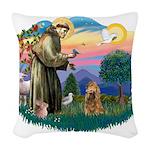 St.Fran #2/ Cocker (brn) Woven Throw Pillow