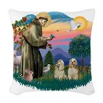 St.Francis #2/ Cockers (2buff Woven Throw Pillow