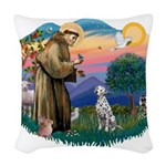 St Francis #2/ Dalmatian Woven Throw Pillow