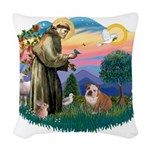 St.Francis #2/ Eng Bull (W-Br Woven Throw Pillow