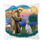 St.Francis #2/ English Set. Woven Throw Pillow
