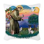 St.Francis #2/ Fox Terrier Woven Throw Pillow