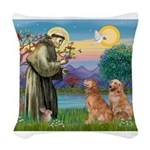 StFrancis-2Goldens.png Woven Throw Pillow