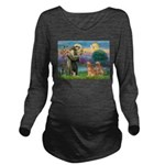 StFrancis-2Goldens.png Long Sleeve Maternity T-Shi