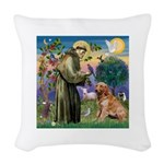 St Francis & Golden Woven Throw Pillow