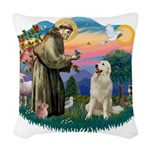 St.Francis #2/ Pyrenees #1 Woven Throw Pillow