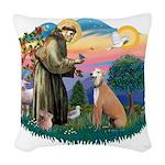 St.Francis #2/ Greyhound Woven Throw Pillow