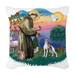 St.Francis #2/ Italian Greyho Woven Throw Pillow