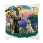 St.Francis #2/ Yellow Lab Woven Throw Pillow