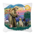 St.Francis #2/ Two Labradors Woven Throw Pillow