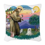 St.Francis #2 / Maltese Woven Throw Pillow