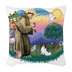 St.Francis #2 / Papillon (#1 Woven Throw Pillow