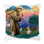St Francis #2/ PBGV #4 Woven Throw Pillow