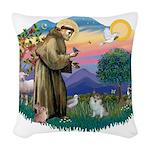 St.Francis #2/ Pomeranian (s& Woven Throw Pill