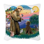 St.Francis #2 / Poodle (ST-Ch Woven Throw Pillow