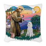 St.Francis #2/ Poodle (Std W) Woven Throw Pillow