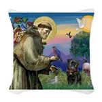 St Francis / Pug Woven Throw Pillow