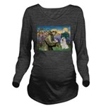 St Francis & Samoyed Long Sleeve Maternity T-Shirt