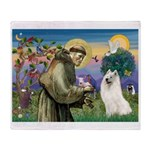 St Francis & Samoyed Throw Blanket