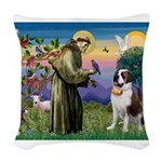 St. Francis/ St. Bernard Woven Throw Pillow