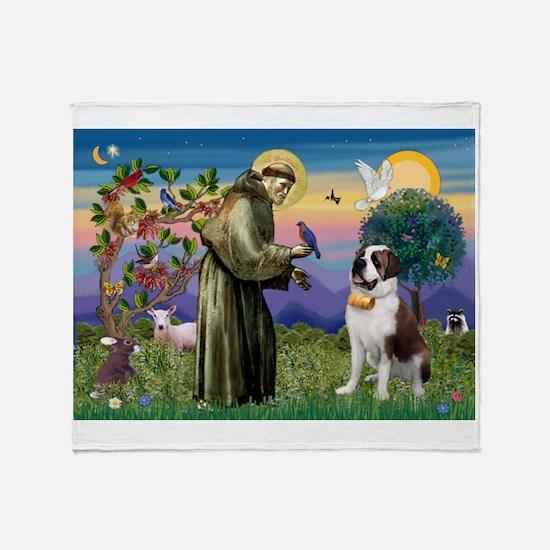 St. Francis/ St. Bernard Throw Blanket
