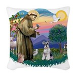 St.Francis #2/ Schnauzer #2 Woven Throw Pillow