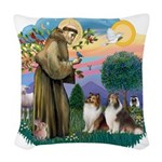 St.Francis #2/ 2 Shelties Woven Throw Pillow