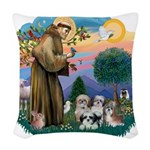 St.Francis #2/ Shih Tzus (4) Woven Throw Pillow