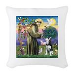 St Francis & Husky Woven Throw Pillow