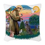 St.Francis #2/ Weimaraner #1 Woven Throw Pillow
