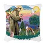 St.Francis #2/ Whippet #12 Woven Throw Pillow
