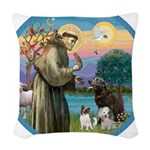 St Francis/3 dogs Woven Throw Pillow