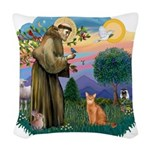 StFran(f)-Abyssin. (rd) Woven Throw Pillow