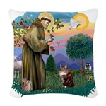 St. Fran (ff) - Maine Coon (# Woven Throw Pillow