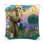 St. Fran (ff) - Norw. Forest Woven Throw Pillow